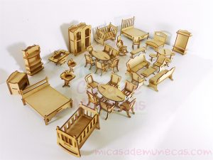 set 40 muebles mini para muñecas tipo Polly Pocket